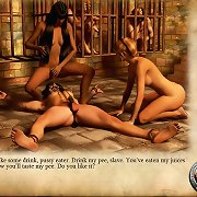 Fantasy femdoms torment chained slaves in 3D dungeon comics.
