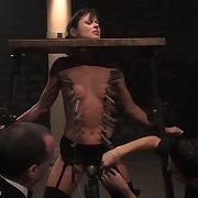 Lass handcuffed in bondage