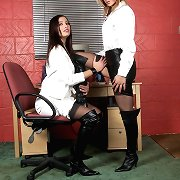 The office is the consummate place for those leather loving lesbians to play