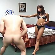 Misty Stone catches an intruder and punishes his pathetic genitals