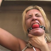 Horny blonde bondaged outsided
