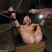 Super cute and enthusiastic beauty drilled and punished in bondage.