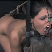 She�s chained widen eagle to the floor and the hook in her a-hole has her in quite a predicament.