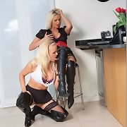 These blond sluts always receive so excited when they wear leather boots