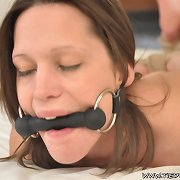 Teen whore tightly hogtied and gagged.