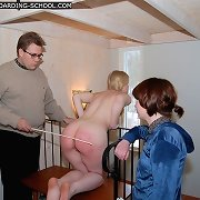 Hot golden-haired naked stripped and caned rough on her round cheeks