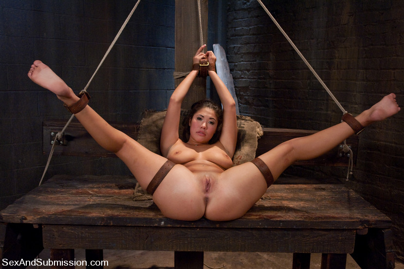 Girl in bondage and sex