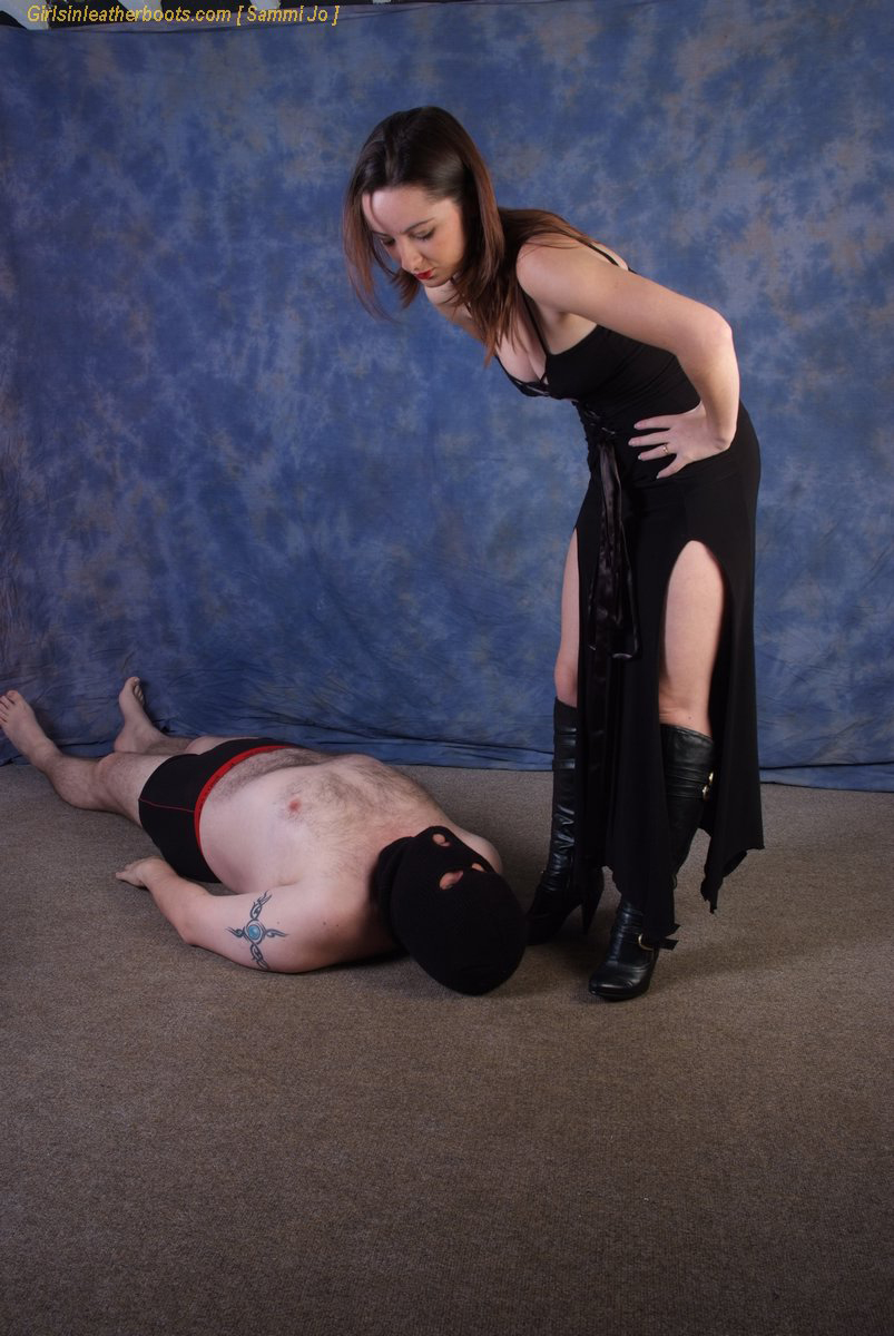 submissive woman in leather