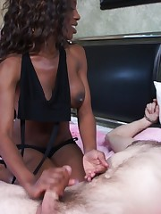 Hot lint jerked slave`s bushwa and gave him his cum