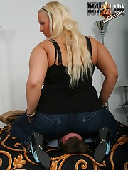 Large round nuisance in jeans on slave's complexion