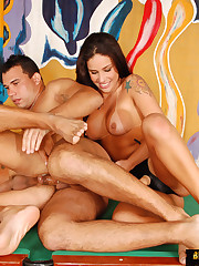 Strapon brunette anal invasion two Facetious ambisextrous dudes
