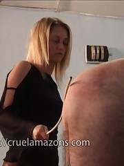 Blonde domina caned bad boy