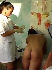 Ass-hole temperature measuring made by two female doctors