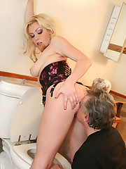 Slave licks ass and pussy of the blonde mistress