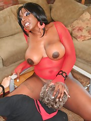 Chick in red nylon sat on slave's face