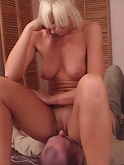 Blonde milf smothers husband