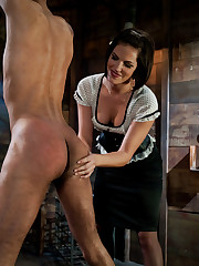 Man was brutally fucked by sexy brunet bitch.