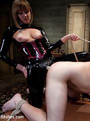 Sexy slut in latex fucked man's ass hole.