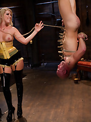 Spanking, pins and strap-on into ass of poor male slave