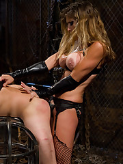 Gagged slave licking Mistress's boots and pussy totally bounded