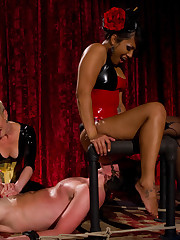 Three Mistresses give their slave's cock  triple torture