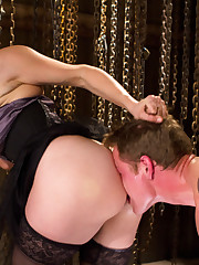 Mistress torments a boy by was and fucked him