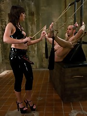 Mistress Penny ties a slaveboy and fucked him by a strapon