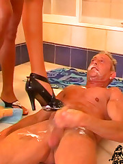 Foot and heels domination in a bathroom