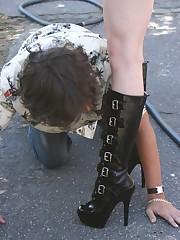 Slaveboy licked boots
