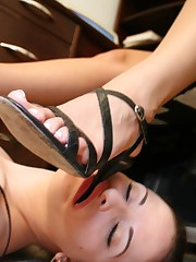 Slavegirl is licking heels