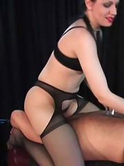 This FemDom takes great delight in working over her captive's cock