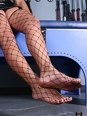 Michelle rushes her slave to her feet wearing fishnet thigh highs and strappy ha....