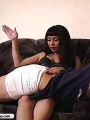 Young hot mistress in corset beats an old man for being foolish