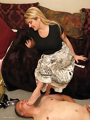 Wife tramples a submissive husband