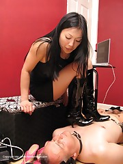Asian mistress in boots tramples malesub