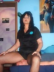 Sexy mistress sat on slave