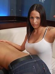 Brunette sex punishes a man's naked ass