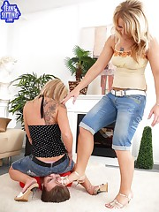 Two mistresses sat on slave