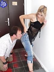 Blonde mistress sat on slave's face