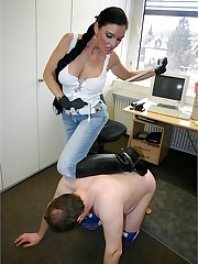 Sultry Carmen gets her pony when she disciplines her slave at work