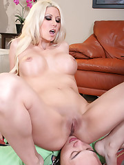Slave lickes blonde's pussy