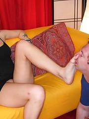 Youn blonde babe sat on slave