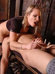 Blonde mistress in nylon sat on slave