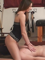 Two sluts were torturing slave's balls and fuck him.