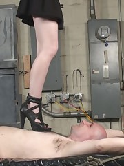 Slave was torturing by high and sharp girl's hills.