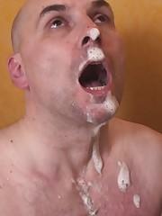 Slave working as sink when ladies brush their teeth