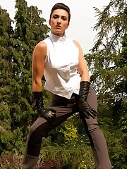 Miss Hybrid wearing jodhpurs, boots and gloves