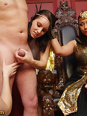 Queen orders male slave to be stripped and wanked by her female servants