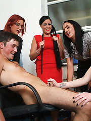 Seduced by office babe, new boy is wanked, sucked and filmed in the nude by girls