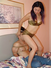 Sexy ASian princess puts her ass to good use smothering her stupid boyfriend